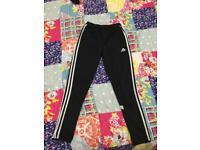 Adidas bottoms black white striped zip pockets
