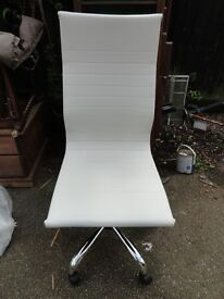 White Faux Designer Leather Office Chair . like judges chairs in Britains Got Talent.