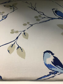 Upcycled 1960's Dropleaf Dining Table and Chairs, Greek Blue, Annie Sloan, Blue Tit Fabric