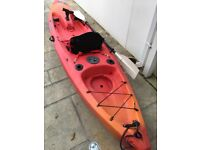 Perception Caster 11.5' Fishing Kayak with Paddle and new Seat Used with a few scratches