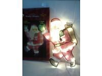 boxed 20 bulb light up Santa window Silhouette