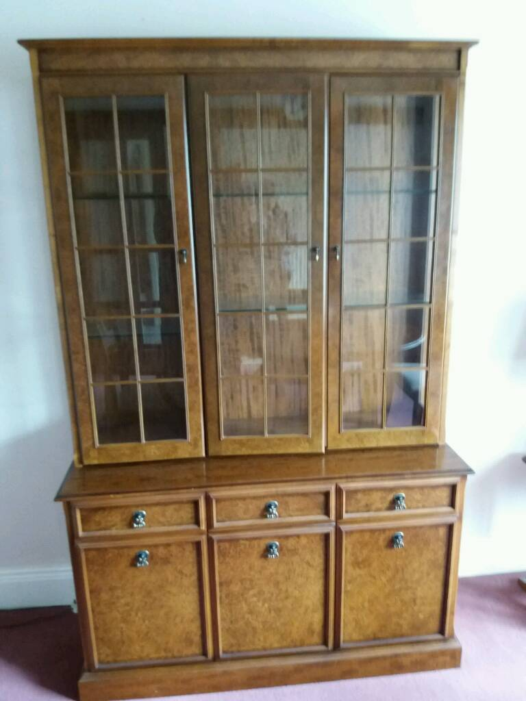 Solid wood light up display cabinet