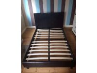 Bed frame (small 4ft) - dark brown leather look finish