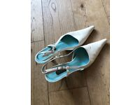 Ivory, leather, Bridal shoes Size 4. In used but good condition