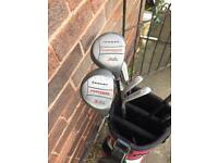 Golf clubs and Wilson bag irons drivers