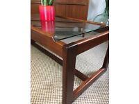 Vintage Retro Mid Century Teak & Clear Glass Coffee Table