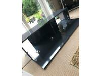 TV STAND BLACK HIGH GLOSS WITH TWO PULL DOWN DOORS