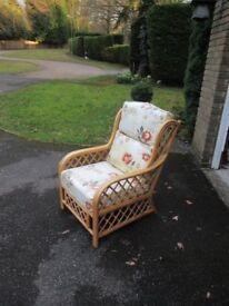 Three piece bamboo garden chair set.