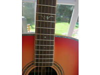 LIKE NEW: VINTAGE V1400 CHERRY SUNBURST ACOUSTIC GUITAR