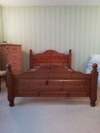 Double solid pine bed. Slatted. Heavy. Will be dismantled.