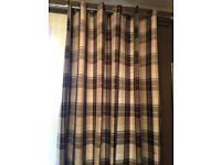Brown and Cream Chequered lined curtains