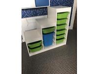 Ikea bedroom storage white with green/blue
