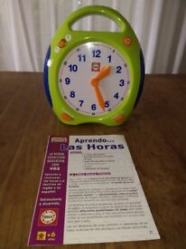 Talking Learning Time Clock Toy English & Spanish Kids Educational Toy