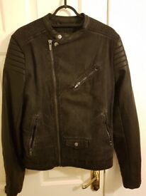 Men's Zara Biker Style Jacket. Size L (small made) Fit 38-40 chest. Denim + Faux Leather sleeves.