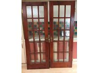 X2 solid wood doors with frosted glass panels
