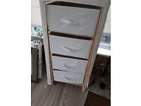Cream canvas/wood storage
