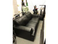 Black leather 3 seater sofa for sale. In good condition, selling as no longer needed.