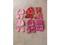 Bundle of 4 sets of 3-6 year winter hat & gloves with 2 pairs of non-slip socks