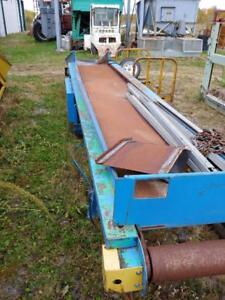 "Heavy Duty 24"" Wide x 21 ft long Belt Conveyor with angled loading hopper"