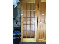 7 internal pine doors ,6 x 4 panel size 27'' x 78'' average size & 1 glass panel size 30 '' x 78''