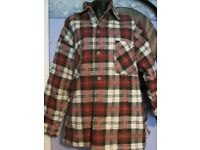 BLACK STALLION CHECK PATTERNED PADDED SHIRT / JACKET SIZE SAYS S BUT ITS BIG SO A S/M