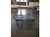 16 seats Restaurant Cafe Bistro Glass top metal frame tables and chairs