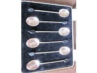1924 William Suckling Ltd Antique Silver Coffee Spoons with Birmingham Town Mark