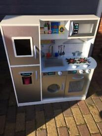 Chad Valley Deluxe Large Wooden Toy Kitchen, with shopping trolley, pans, kettle and play food