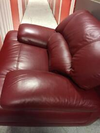 Red leather 3 1 & footstool