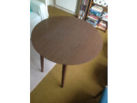 Circular laminate topped fold down table £5