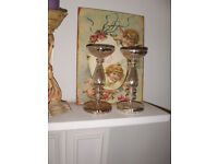 Pair of Debenhams antique style fine glass candle holders / candlesticks