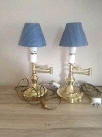 Two swing arm lamps ( Brass with blue denim shades)