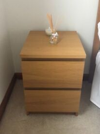 Pair of IKEA two drawer bedside units