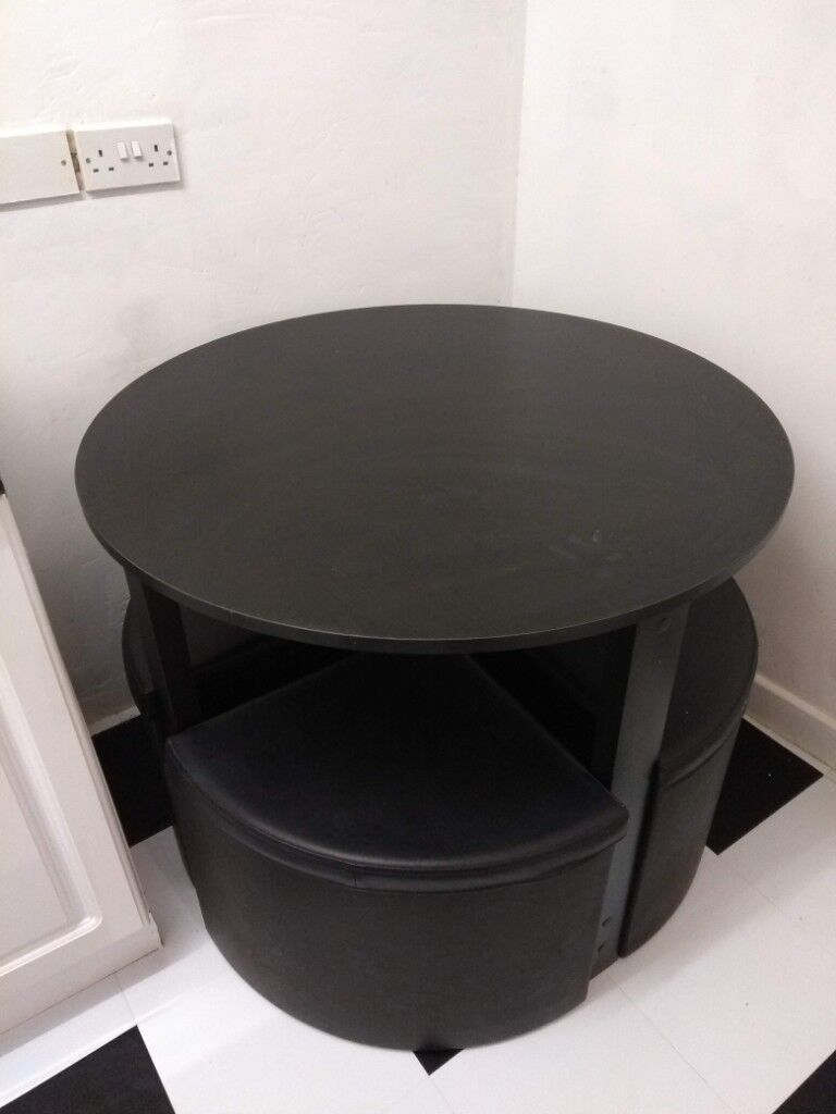 Compact Round Black Dining Table 4 Chairs In Llanelli