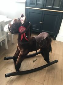 Heritage Deluxe 68cm Rocking Horse With Sounds and Moving Mouth Beige