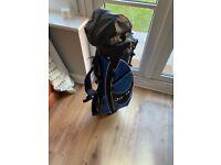 Junior golf bag and three clubs