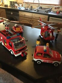 Playmobile bundle rescue fire engine helecopter car dingy plus figures some bits missing bargain