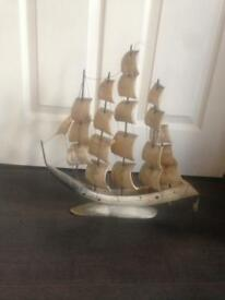 Cattle Horn/Bone Sailing Ship Boat Ornament