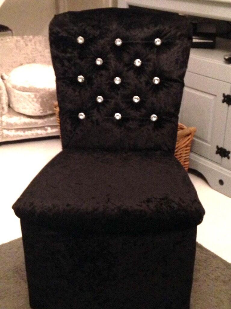 REDUCED* LUXURY BLACK CRUSHED VELVET BEDROOM CHAIR | in Ely, Cardiff ...