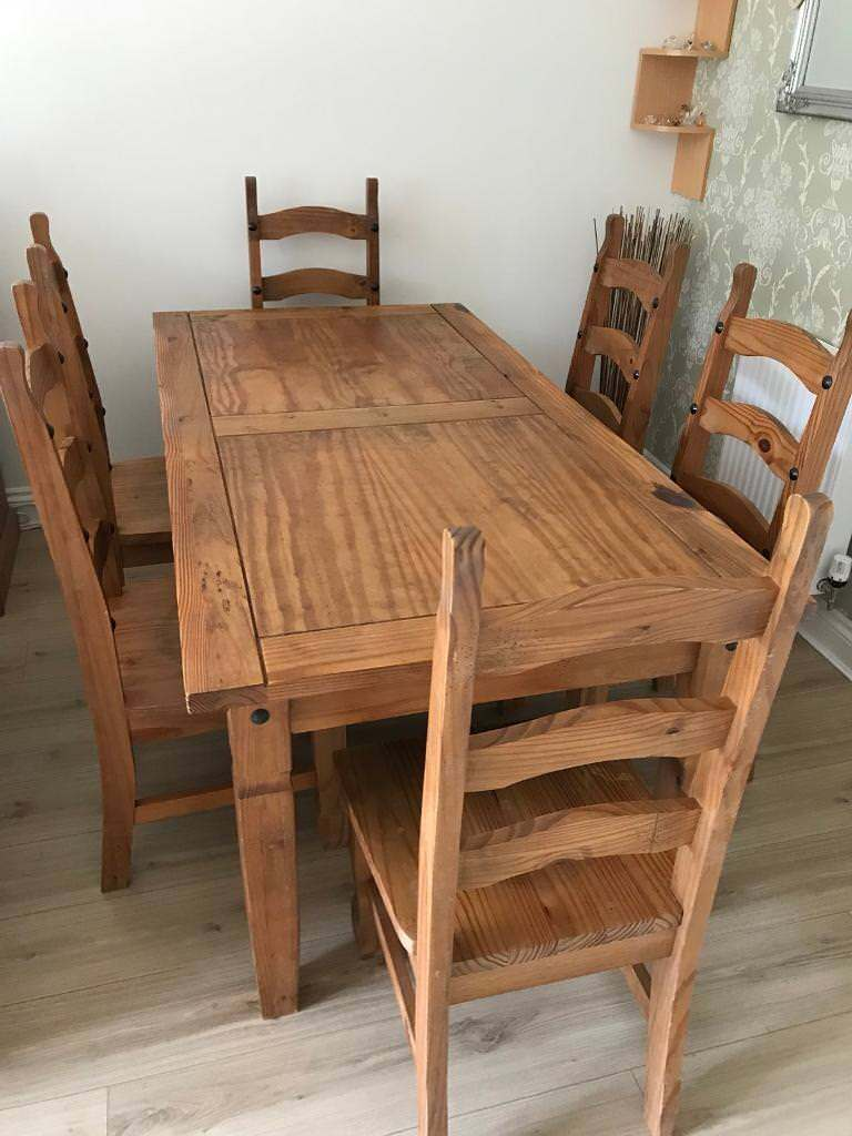 Dining table and 6 chairs - solid pine | in Banstead ...