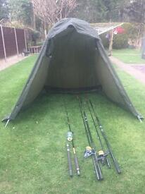 Vintage sea rods, reels and bivvy