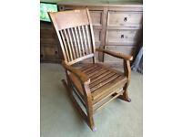Hardwood large solid rocking chair