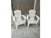 Two cream garden patio outdoor chairs furniture