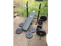 Weight bench and weights £30 can deliver