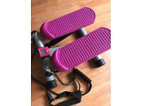 Mini stepper resistance bands compact, easy storage legs & upper body workout