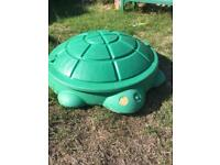 Little Tykes turtle sand pit with cover and rocking horse