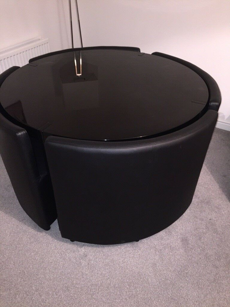 Dwell Black Rotunda Dining Table With 4 Leather Chairs