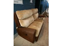 long 2 seater brown and cream fabric recliner sofa