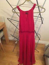 Hobbs red dress size 12 with matching shawl