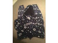 Debenhams Navy blue/white snowflake cosy onesie Size 10